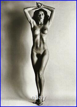 1980 Vintage HELMUT NEWTON Female Nude Woman Brunette Duotone Photo Art 12X16