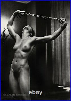 1980s Vintage HELMUT NEWTON Female Nude LISA LYON With Chains Photo Art 16X20