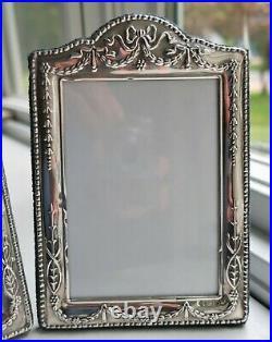 2 Vintage Sterling Silver Picture Frames Ornate Repousse England Floral Easel