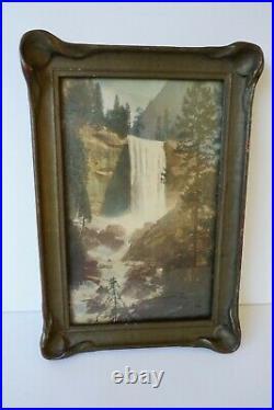 Antique Hand Tinted Photograph Vernal Falls Waterfall Yosemite pie crust frame