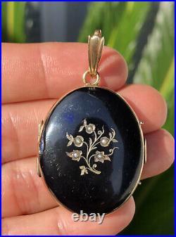 Antique Victorian 14K Gold & Seed Pearls Mourning Enamel Photo Locket Pendant
