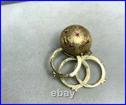 Antique Victorian 14k Yellow Gold Ruby & Blue Sapphires Triple Photo Ball Locket