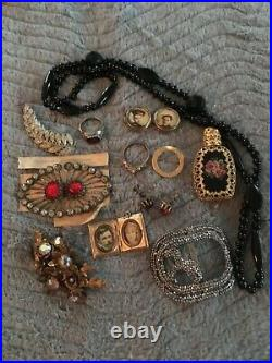 Antique Victorian Photo Lockets Rings Earrings Buckles Black Glass Beads Perfume