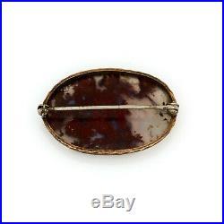 Antique Vintage Art Nouveau 10k Rose Gold Dendritic Picture Agate Pin Brooch