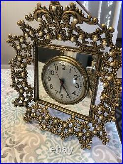 Antique / Vintage Dressing Vanity Set With Perfume Bottles + Clock + Picture Frame