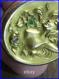 Art Nouveau GF Repousse Hinged Photo Locket Semi-Nude Goddess Mermaid-water lily