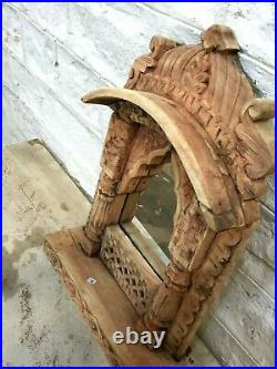 Hand carved Wooden Vintage Style Mehrab Timber Frame for Photos Mirror or Wall A