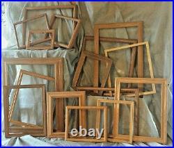 Huge Lot Vtg SIZE OPEN PICTURE PAINTING wedding barn WOOD FRAMES oak vtg props