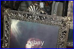 Large Vintage Italian Gold Gilded Metal Picture Frame Young Girl Praying