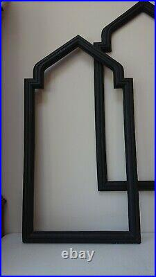 Pair Large (98cm x 52.6cm) Shabby Antique Black Gothic Picture Frame Arched Top