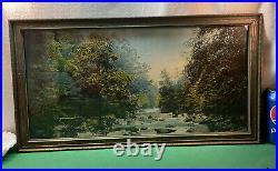 VTG 1918 Muller Luchsinger Co. Mountain Stream Painted Photo Print Antique Frame