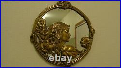 Vintage Art Deco Brass Beautiful Lady Face Flowers Leaves Mirror/Picture Frame