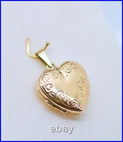 Vintage Jewellery Solid Gold Pendant Heart Locket Photo Antique Jewelry
