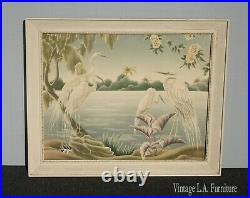 Vintage Mid Century Modern Egrets Flamingos Wall Mantle Picture by Turner #36